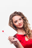 Girl with an envelope Royalty Free Stock Photos