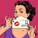 Girl with envelope for letter and kiss lipstick. Girl with the envelope for the letter and kiss lipstick pop art retro style Stock Image