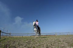 THE GIRL THE EQUESTRIAN SKIPS Royalty Free Stock Photography