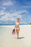 The girl with the equipment for scuba diving Royalty Free Stock Image
