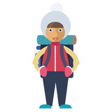 A girl equipped for winter camping Royalty Free Stock Photo