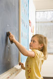 Girl Erasing Writing on Blackboard Stock Photography