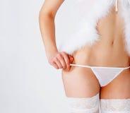 Girl in erotic white dress Stock Photos