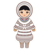 The girl in Eskimo dress. Historical clothes. The Far North. Colorful drawing on a white background.  Line drawing festive. Vector drawing Stock Image