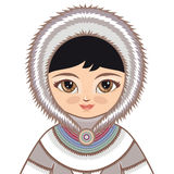 The girl in Eskimo dress. Historical clothes. Portrait, avatar. The girl in Chukcha dress. Historical clothes. The Far North. Colorful drawing on a white Royalty Free Stock Photo