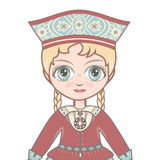The girl in Estonian dress. Historical clothes .Portrait, avatar Stock Image