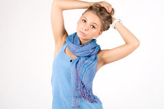 Girl in ethnic scarf Stock Images