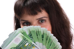Girl and euro. Girl and 100 euro. Isolated Stock Photos
