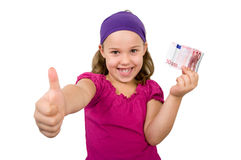 Girl with 10 Euro Royalty Free Stock Image