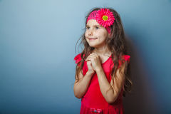 Girl European appearance haired child of seven in Stock Photography