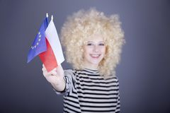 Girl with European Union and Poland flag. Stock Images