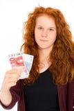 Girl with euros Royalty Free Stock Photo