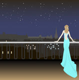 Girl in evening dress on the background of the city at night and Stock Image