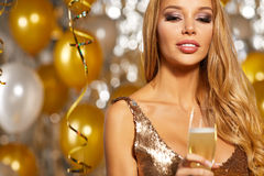 Girl in evening dress with champagne glasses - new year, celebra Stock Photo