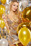 Girl in evening dress with champagne glasses - new year, celebra Royalty Free Stock Images