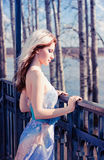 Girl in evening dress Stock Images