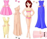 Girl with evening dresses vector illustration