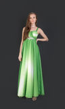Girl in evening green dress Stock Photography
