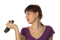 Girl examines the binoculars Royalty Free Stock Photography