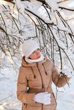 Girl examines a snowy tree Stock Photo