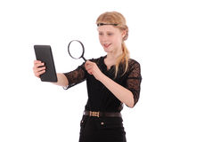 Girl examines tablet pc Stock Photos