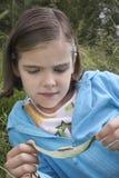 Girl Examining Caterpillar On Leaf Stock Photos