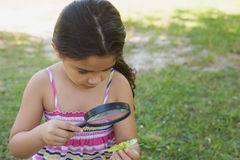 Girl examining a leaf with magnifying glass at park Stock Photo