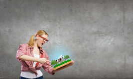 Girl excited with book Stock Photo