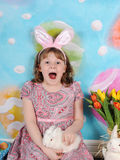 Girl excited for easter Stock Images