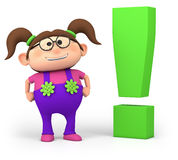 Girl with exclamation mark stock photos