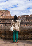 Girl on excursions at the Colosseum. Rome, Italy Royalty Free Stock Photo