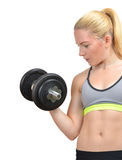 Girl exercise biceps muscles with dumbbells Stock Photo