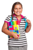 Girl with exercise books Stock Photo