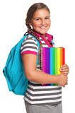 Girl with exercise books Royalty Free Stock Photo