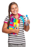 Girl with exercise books Stock Photos