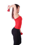 Girl exercise with dumbbells Royalty Free Stock Images