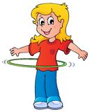 Girl exercise with hula hoop. Vector illustration Royalty Free Stock Images