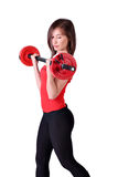 Girl exercise with weights Stock Photo