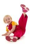 Girl exercises. On white background Royalty Free Stock Image