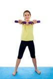 Girl exercising. Active girl exercising isolated on white background Stock Photo