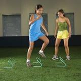 Girl exercising. stock photography