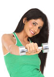 girl exercising with dumbbell Stock Photo