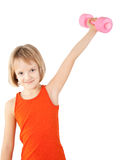 Girl exercising with dumbbell Stock Images