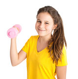 Girl exercising with dumbbell Stock Image