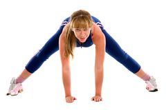 Girl exercising on the floor Stock Photo