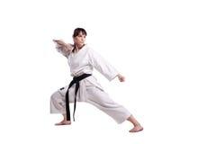 Girl exercising karate Stock Photo
