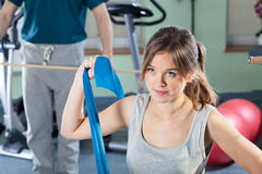 Girl exercising at physiotherapy clinic Royalty Free Stock Photos