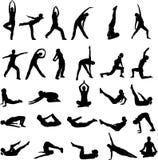 Girl exercising silhouettes Stock Photos