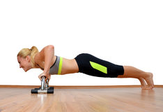 Girl exercising workout fitness aerobic. Stock Images
