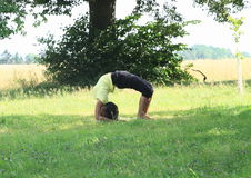 Girl exercising yoga on meadow. Barefooted tropical girl - woman with long black hair exercising yoga on green grass Stock Images